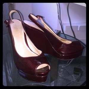 Red Patent Peep Toe Platforms