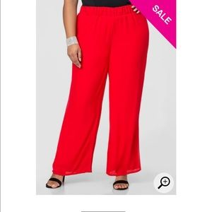 Ashley Stewart Pants - HOT RED CHIFFON PALAZZO PANTS