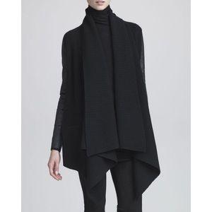 Donna Karan LeatherSleeve Rib-Knit Sweater ML NWT