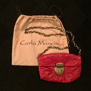 Carla Mancini Red Clutch Purse with Bronze Clasp