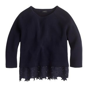 NEW J. Crew Eyelet Floral Panel Sweater in Navy