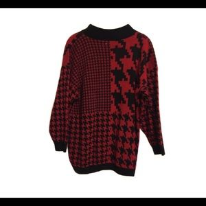 Womens Red & Black Houndstooth Sweater