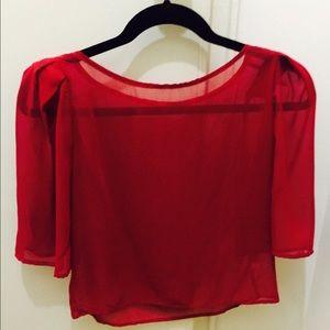 american apparel sheer red top