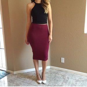 Dresses & Skirts - Burgundy Midi Pencil Skirt