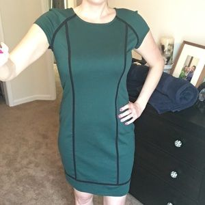 Mossimo Green Shift Dress w/ Black Piping