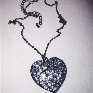 Jewelry - Black Heart with Green Rhinestones Necklace