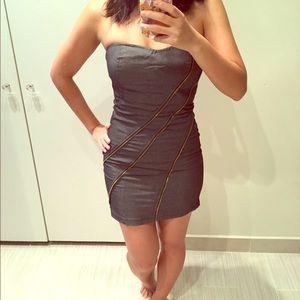 Denim strapless clubbing dress
