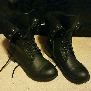 Foldover Sherpa Combat Boots