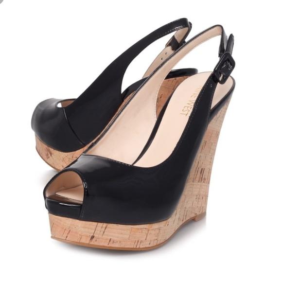 ead67e06b545 Nine West Leggy Cork Wedge Sandal Black 8.5. M 571d867813302a5bae06afe8