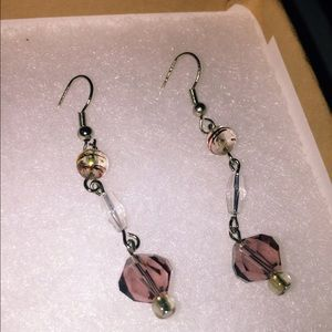 Jewelry - Homemade Earrings with Purple Gem
