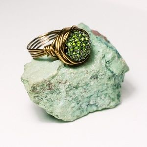 Handmade by Me! Jewelry - ✨Bling Ring✨ Bronze and Green Pave Crystal