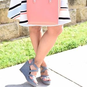 bp Shoes - Gray Blue Cross Strap Wedges