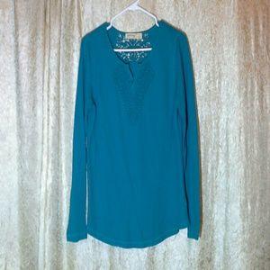 Tops - Aqua blue long sleeve top.
