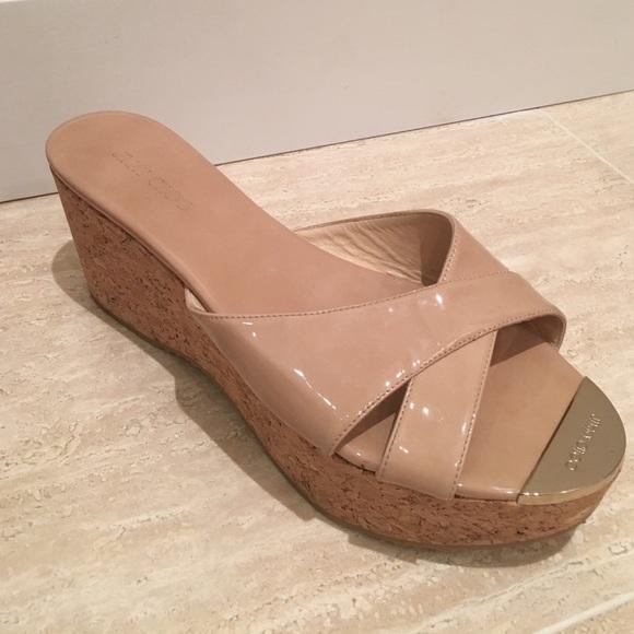 jimmy choo shoes pandora cork wedge sandal poshmark rh poshmark com