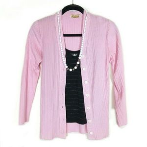 Vtg 60s pink ribbed cardigan
