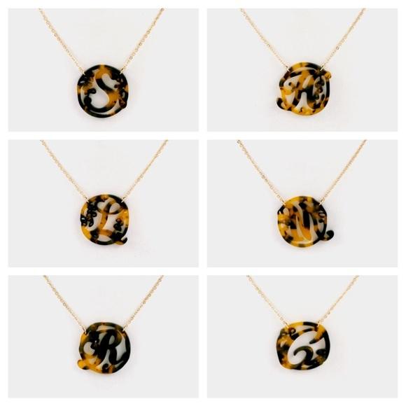 Tortoise Shell Resin Laser Cut Monogram Necklaces Boutique