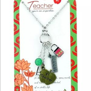 Jilzara Two-tone Teacher Charm Necklace