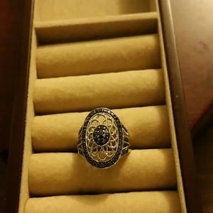 Jewelry - Sterling silver ring with black diamonds