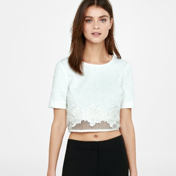 Express Tops White Floral Lace Crop Top Poshmark