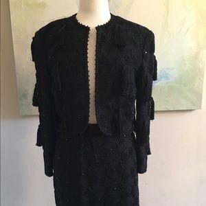 Louis Feraud embroidered w tassel suit