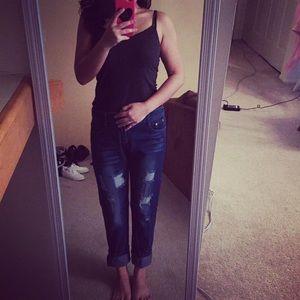 Denim - Boyfriend scratch blue jeans