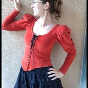 Vintage Tops - Vintage Handmade Lace Up Peasant Blouse