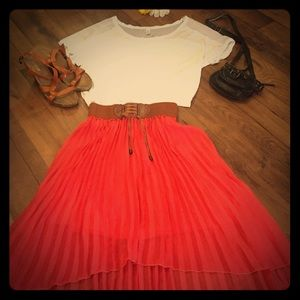 Dresses & Skirts - Coral pleated high-low skirt, size large