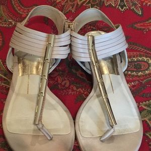 Nude Dolce Vita sandals w/gold brackets