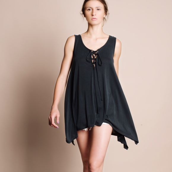 Bare Anthology Tops - Lace Up Asymmetrical Tank Top