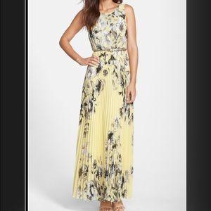 Eliza J. Pale Yellow Floral Maxi Dress