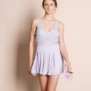 Lace Romper with Tie Up Back