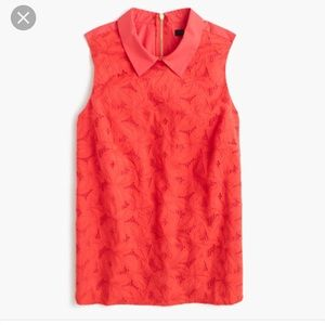 J crew eyelet top with collar