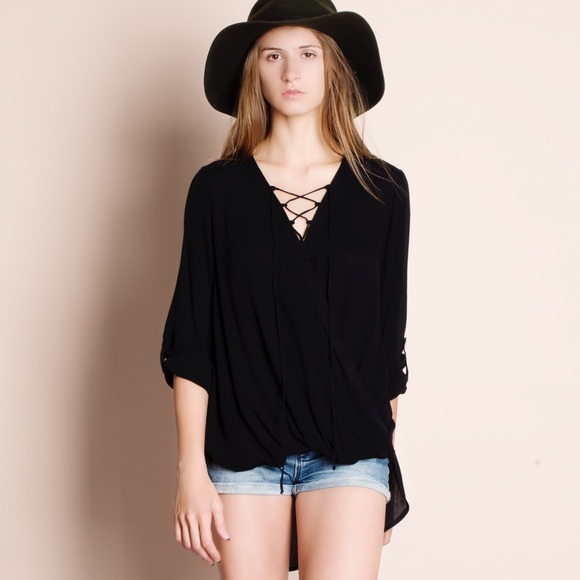 Bare Anthology Tops - 1HRSALE Lace Up Faux Wrap Top