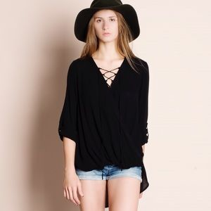 1HRSALE Lace Up Faux Wrap Top