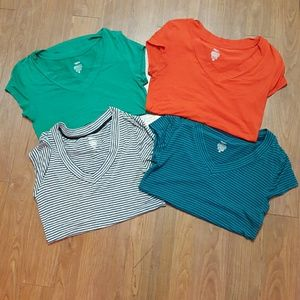 Tops - Two striped and two solid fitted t shirts.