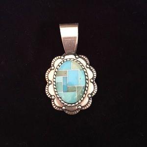 Mosaic turquoise pendant