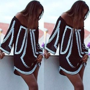 Off the shoulder chiffon mini dress