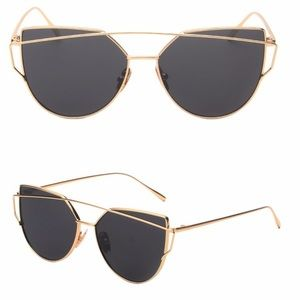 Accessories - •Oversized black/gold mirrored sunglasses•