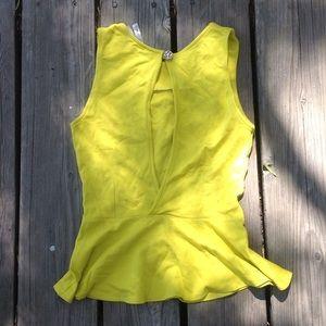 MONA LISA Tops - Sexy open back yellow peplum tank