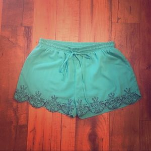 Pants - Teal Embroidered Shorts