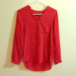Zara silky red polka dot blouse. Size XS