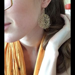 Anthropologie Jewelry - Chaotic Swirly Knot Space Circle Wire Wrap Earring