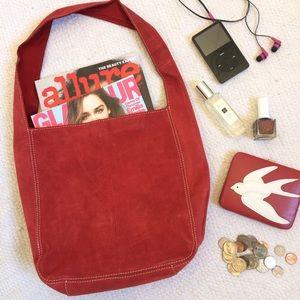 Old Navy Handbags - Red Suede Hobo Bag