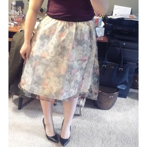 Moon Collection Dresses & Skirts - Pastel Floral Elastic Waist Lined Midi Skirt