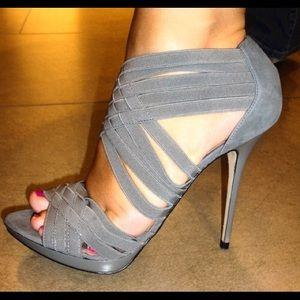 Zara Gray Suede Elastic Strappy Heels
