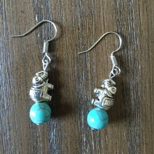 Turquoise and Silver Elephant Earrings