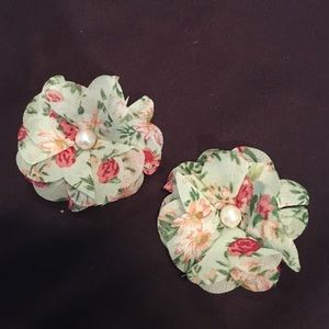 2 small mint green floral hair pins