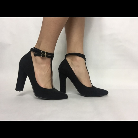 77e31692a8f2 JustFab Shoes - Black closed toe strapped heels