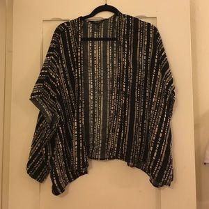 Black tribal kimono