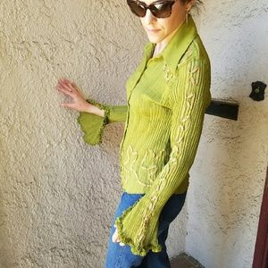 Dress U by Sharon  Tops - Green top/blouse with the coolest sleeves